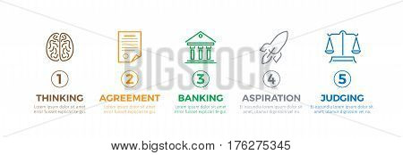 Business process shown in graphic label circles on white of creating and implementing new idea. Vector flat poster of thinking process, making agreement, banking, aspiration with it and judging.