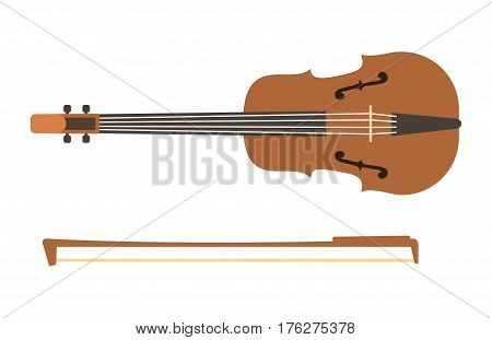 Violin with bow isolated on white background fine performance stringed classical music art instrument and concert musical orchestra string fiddle viola vector illustration.
