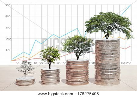 Concept of money tree growing from coins Business graph background Saving money Economy Investment and Saving Concept.