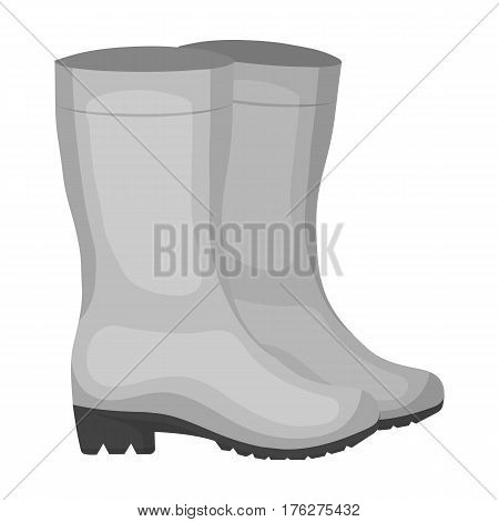 Yellow rubber waterproof boots for women to work in the garden.Farm and gardening single icon in monochrome style vector symbol stock web illustration.