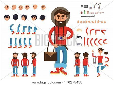Photographer constructor poster with human parts and things on white. Vector colorful collection of standing male person with hanging camera in hat and signs of face emotions, bent legs and arms etc