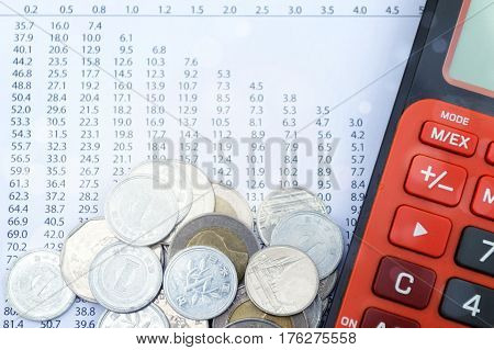 Double exposure coins with calculator and growing graph Saving money Economy Investment and Saving Concept.