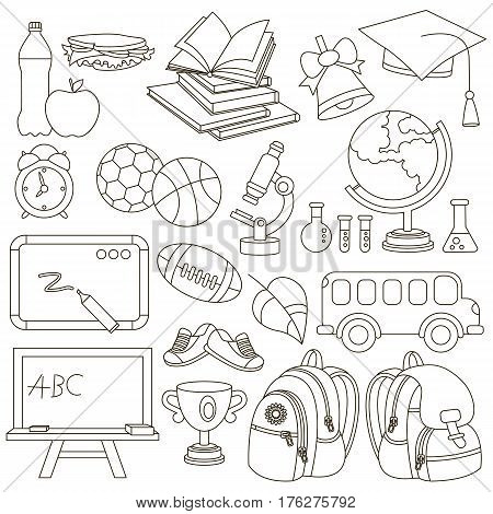 Set of school items to be colored, the coloring book to educate preschool kids with easy kid educational gaming and primary education of simple game level.