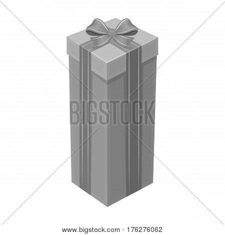 A high gift box, for a high and narrow gift.Gifts and Certificates single icon in monochrome style vector symbol stock web illustration.