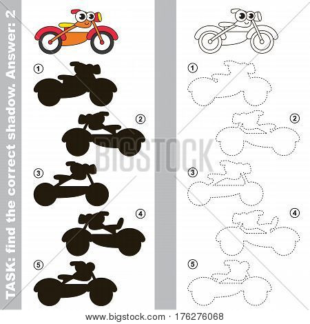 Toy Motorcycle with different shadows to find the correct one. Compare and connect object with it true shadow. Easy educational kid gaming. Simple level of difficulty. Visual game for children.