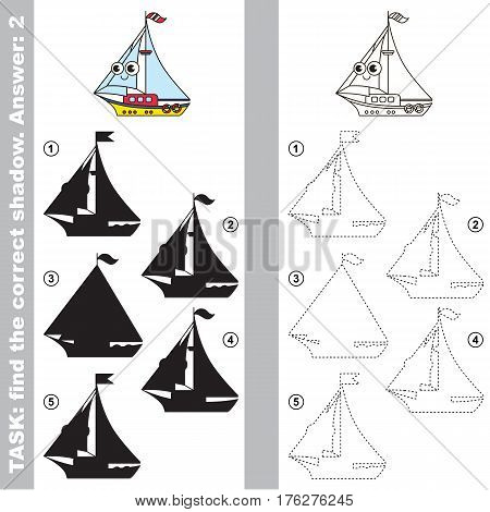 Toy yacht with different shadows to find the correct one. Compare and connect object with it true shadow. Easy educational kid gaming. Simple level of difficulty. Visual game for children.