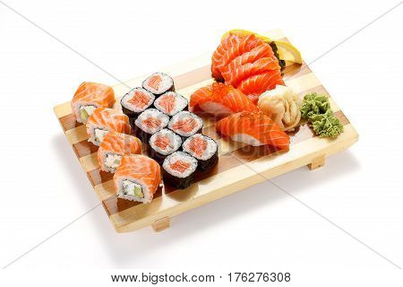 Japanese Cuisine. Sushi And Rolls Set Isolated On White Background.