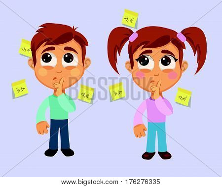 Forgetfulness Symptom. Boy and Girl have problem with memory.