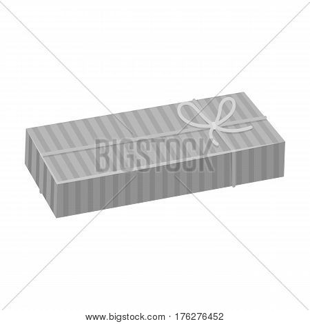 Blue gift for a holiday with an yellow bow.Gifts and Certificates single icon in monochrome style vector symbol stock web illustration.