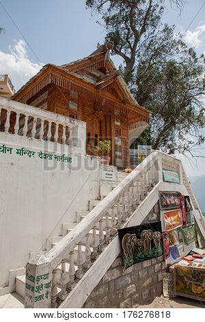MANALI, INDIA. 4 Jun 2009: Wooden ancient Hindu Temple Jagtipath. Naggar, district of Kullu in Himachal Pradesh, India.