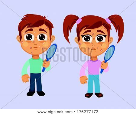 Boy and Girl with White Pimples Symptom