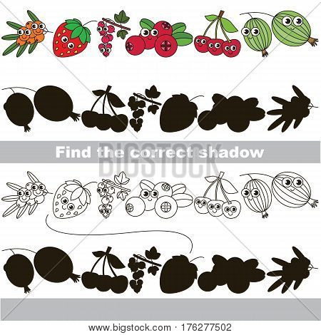 Funny berries set with shadows to find the correct one. Compare and connect objects and their true shadows. Easy educational kid gaming. Simple level of difficulty. Logic game for children.