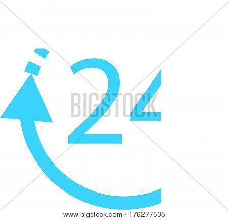 24 hours delivery on white background, 24 hours delivery sign.