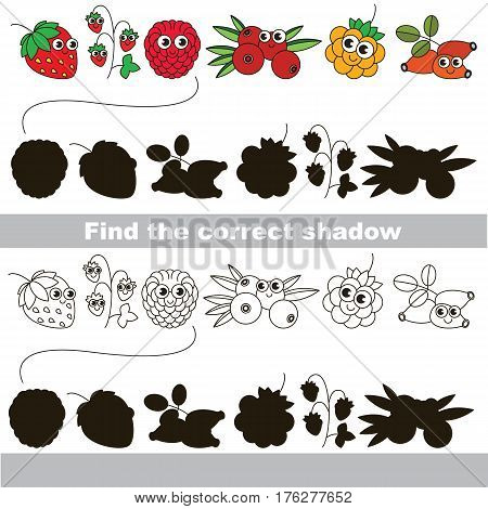Set of funny berries with shadows to find the correct one. Compare and connect objects and their true shadows. Easy educational kid gaming. Simple level of difficulty. Logic game for children.