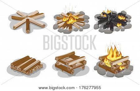Gathered firewood collection for making bonfire. Vector flat poster of burning and still campfire and firewood set on white. Fireplace concept with camping woodpile in round and square shapes