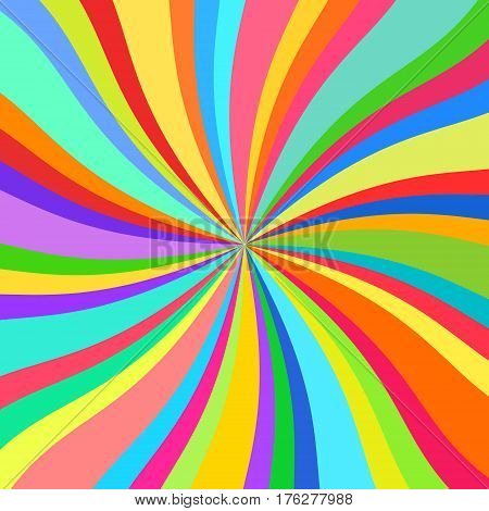 Kaleidoscope, Abstract Background, Sun of Colored Ribbons, Colorful Rays, Star Burst, Vector Illustration