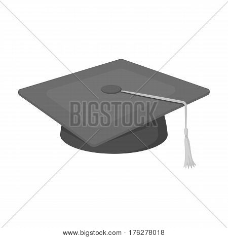 Blue beret with a rope in the center. Cap student . School uniform .School And Education single icon in monochrome style vector symbol stock web illustration.