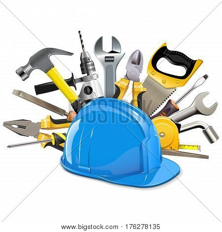 Vector Construction Helmet with Instruments isolated on white background