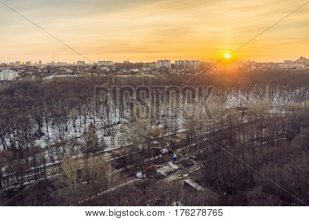 Cityscape sunset, aerial winter view at Dynamo park in Voronezh city from rooftop