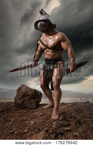 Rome gladiator attacking on drammatic outdoor nature