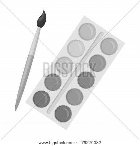 Palette with paints and brush. Paint in school.School And Education single icon in monochrome style vector symbol stock web illustration.