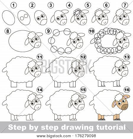 Vector kid educational game to develop drawing skill with easy game level for preschool kids education, the funny drawing kid school. Drawing tutorial for Sheep.