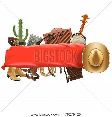 Vector Festive Cowboy Banner isolated on white background