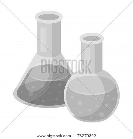 Flasks with reagents. Chemistry in school. Chemically, experiments.School And Education single icon in monochrome style vector symbol stock web illustration.