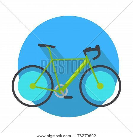 Bicycle icon design flat isolated. Bike and blue web button. Personal transport. Ecologically safe transportation item. Cycling race sport. Mountain bicycle, travel. Vector illustration