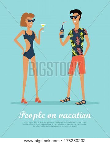 People on vacation drinking cocktails on rest. Couple drinking tasty beverages. Man and woman in love enjoy summer time during holiday. Happy tourists on the journey. Vector illustration in flat style.