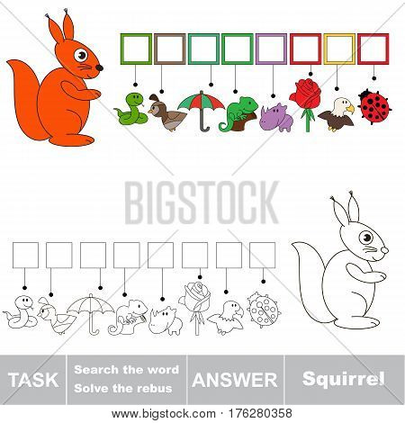 Vector rebus game for preschool kids with easy educational game level for kid education during gaming, find solution and write the hidden word in grid cells - Squirrel.