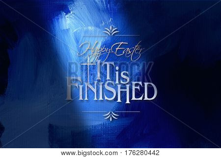 Graphic composition of Happy Easter Holiday message against dramatic blue oil paint texture background. Art is suitable for greeting card design and general holiday layouts.