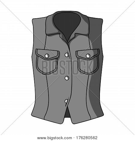 Women Sleeveless Sports Jacket .Beige button-down shirt without sleeves for the girl. Sport dress style.Women clothing single icon in monochrome style vector symbol stock web illustration.