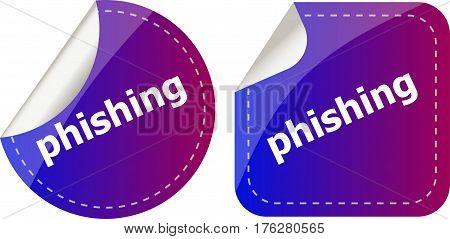 Phishing Word With Lock On Black Stickers Set