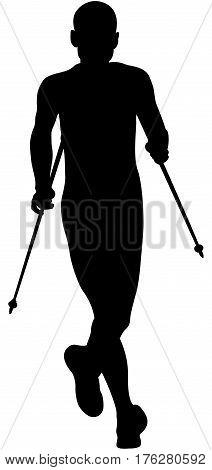 athlete runner running mountain marathon trekking poles black silhouette