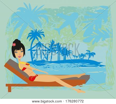 Grunge banner with palm trees and sexy girl , vector illustration