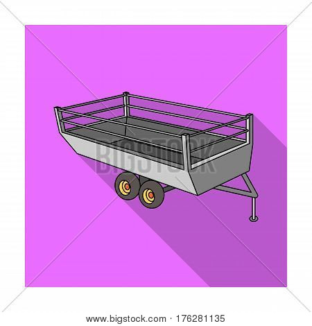 Grey trailer on wheels for transportation of farm animals.Agricultural Machinery single icon in flat style vector symbol stock web illustration.