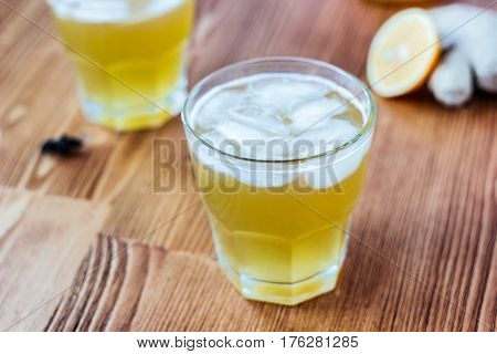 Alcohol Free Home Ginger Beer On Glass On Wooden Surface