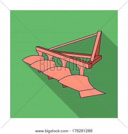 Red metal attachment to the tractor for plowing fields.Agricultural Machinery single icon in flat style vector symbol stock web illustration.