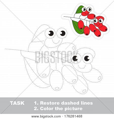 Page to be traced. Easy educational kid game. Simple game level. Gaming and education. Tracing worksheet for barberry.