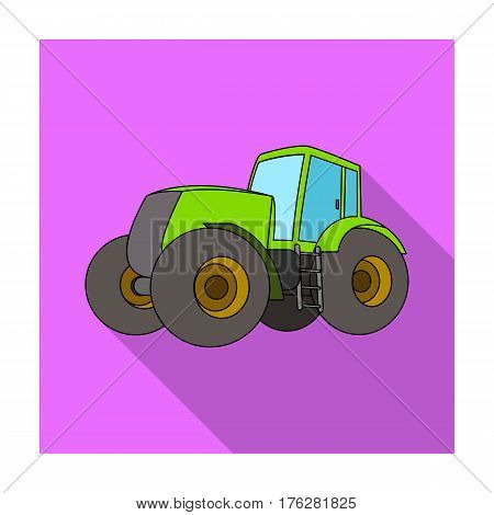 Combine harvesting .Green tractor with large wheels. Agricultural equipment for farmers.Agricultural Machinery single icon in flat style vector symbol stock web illustration.