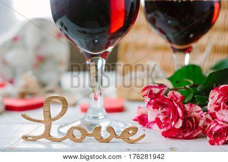 Love Letters On Wine Background On Valentine's Day Celebration
