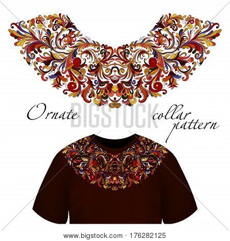 Vector design for collar t-shirts and blouses. Colorful ethnic flowers neck line. Embroidery for Fashion. Hot eastern colors.