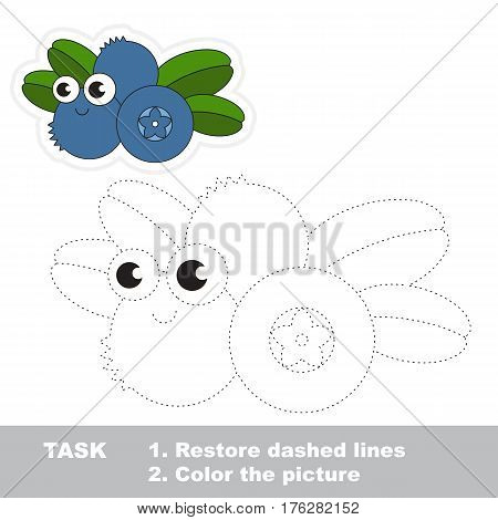 Page to be traced. Easy educational kid game. Simple game level. Gaming and education. Tracing worksheet for Blueberry.