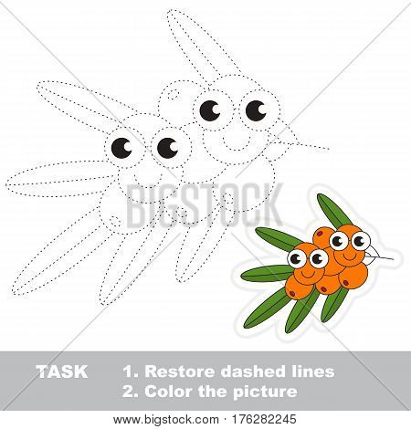 Page to be traced. Easy educational kid game. Simple game level. Gaming and education. Tracing worksheet for Buckthorn.