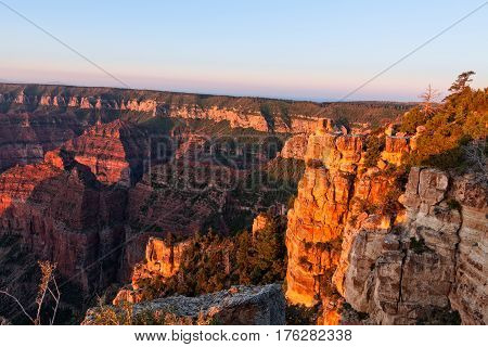 a sunrise scenic of the grand canyon from the north rim