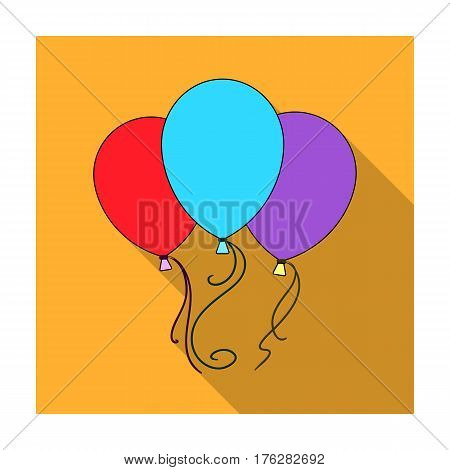 Blue pink and yellow balloons for children. Children's toys in the amusement park.Amusement park single icon in flat style vector symbol stock web illustration.