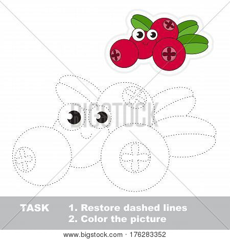Page to be traced. Easy educational kid game. Simple game level. Gaming and education. Tracing worksheet for Cowberry.