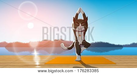 picture of a cat performing vrikshasana with lake, mountains and sunrise on background, yoga and meditation concept