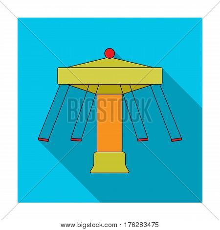 Carousel with seats on chains for children. Amusement park.Amusement park single icon in flat style vector symbol stock web illustration.